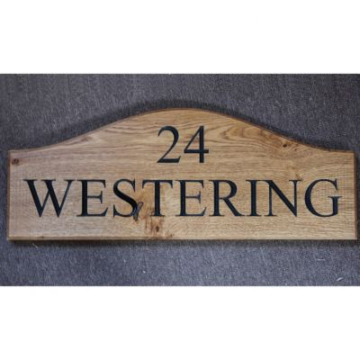 Shaped Wooden House Sign - Two Line